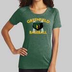 Green Ladies PosiCharge ® Tri Blend Wicking Scoop Neck Raglan Tee Baseball