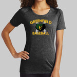 Black Ladies PosiCharge ® Tri Blend Wicking Scoop Neck Raglan Tee Baseball